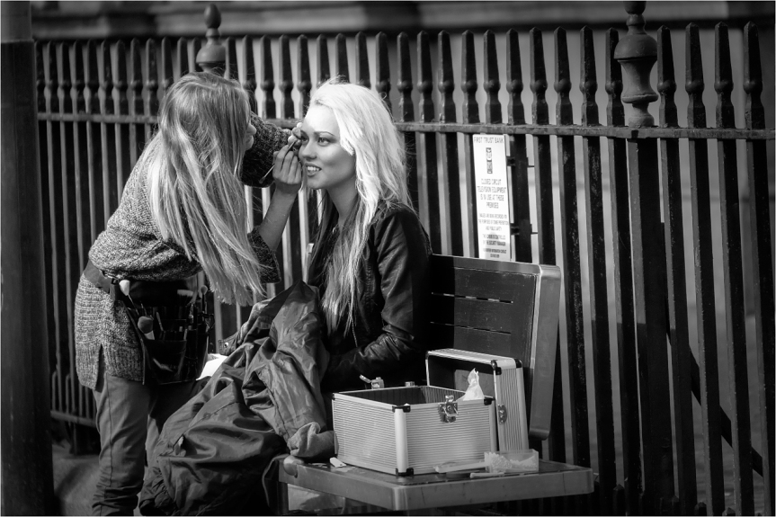 Make up artist on the street in Belfast